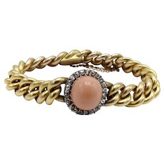 French Victorian 18K Gold Curb Link with Coral Cabochon and Diamond Halo