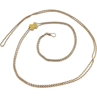 14K Gold Victorian Rope Chain Necklace with Diamond Slide
