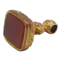 Victorian Gold on Copper and Carnelian Fob Pendant