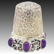 Sterling Silver Thimble with Amethyst Cabochons