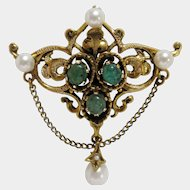 14K Gold Renaissance Revival Emerald Cabochon and Pearl Brooch-Pendant