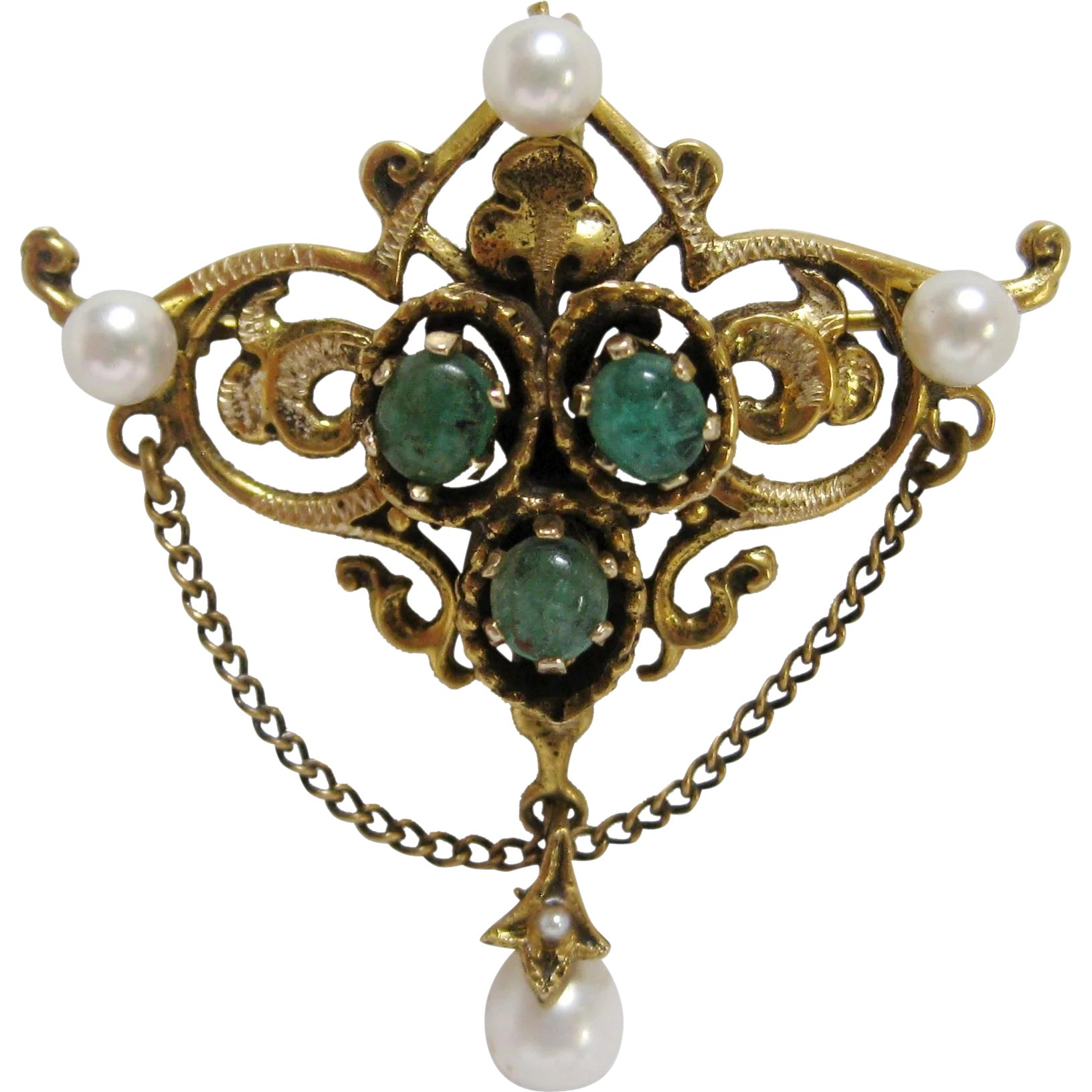 asp renaissance uk revival and emerald century ruby pendant a auction enamel pearl
