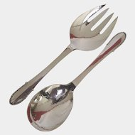 Large Georg Jensen Beaded/Kugel Pattern Sterling Silver Salad Servers