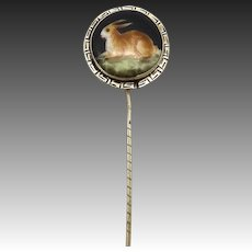 Late Victorian Hand Painted Rabbit Stick Pin