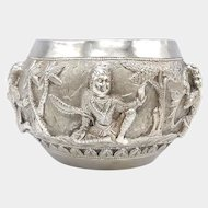 Antique Sterling Silver Repoussé Bowl from Burma