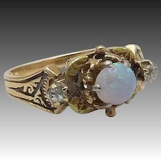 Victorian 14kt Gold, Opal, Diamond Ring