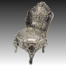 Dutch Sterling Silver Miniature Chair