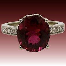 Gorgeous Crimson Cuprian Rubelite & Diamond Gemstone Ring