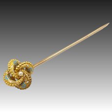 Late Victorian 14kt Gold, Enamel, and Seed Pearl Etruscan Revival Lover's Knot Stick Pin