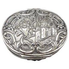 Sterling Silver Repoussé Jugendstil Flower Motif Case