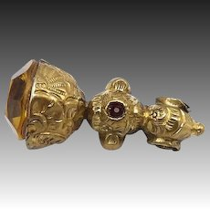 Brass and Red Glass Victorian Era Fob