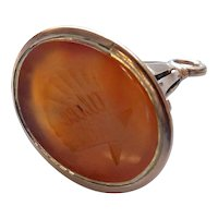 Victorian 12kt Gold and Carved Carnelian Shell Intaglio Watch Fob Pendant