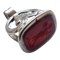 Victorian 12kt Gold and Carved Carnelian Warrior Intaglio Watch Fob Pendant