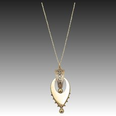 14kt Gold and Black Enamel Etruscan RevivalPendant