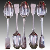 Set of Five English Fiddle Pattern Sterling Silver Teaspoons Circa 1890