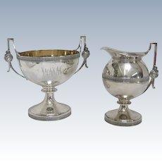 A Medallion Gorham Coin Silver Gilt Creamer & Tea Waste Bowl