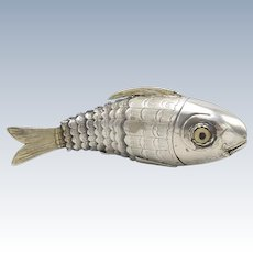Sterling Silver Besamim Fish Container, circa 1849