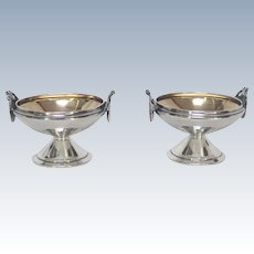 Classical Gorham Medallion Coin Silver Pair of Salt Cellars