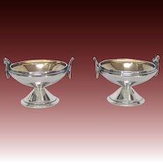 Classical Gorham Medallion Coin Silver Pair of Salt Cellars