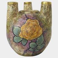 Austrian Amphora Art Nouveau Vase with Rose Decoration