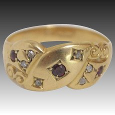 Victorian 18K Gold, Ruby and Diamond Ring