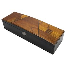 Japanese Parquetry Glove Box from Meiji Era