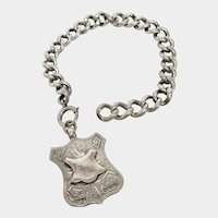 English Sterling Silver Watch Fob Bracelet with Albert Chain circa 1910