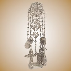 Sterling Silver Châtelaine with Quasi Religious Appendages