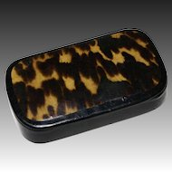 Hand Painted Faux Tortoiseshell Laquer Snuff Box