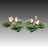 A Pair of Caldas Portuguese Palissy Ware Shell Shaped Dishes