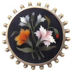 Victorian 14kt Rose Gold and Silver Pietra Dura Coker, circa 1880 - Red Tag Sale Item