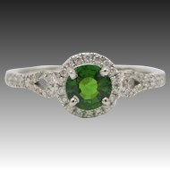 14kt White Gold, Tsavorite Garnet, and Diamond Ring