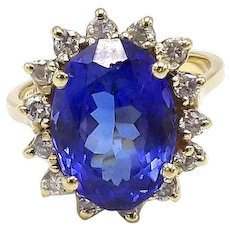 Vintage 14kt Gold, Tanzanite and Diamond Ring by LeVian
