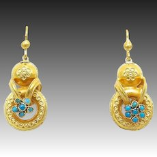 Etruscan Revival 14kt Gold and Turquoise Earrings