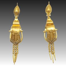 Victorian 18kt Gold Plated on Brass Etruscan Revival Earrings