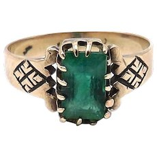 Victorian 12kt Rose Gold and Emerald Ring