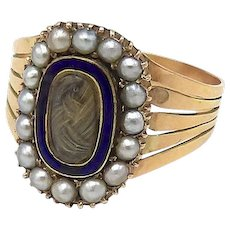 Georgian 15kt Gold Seed Pearl Mourning Ring