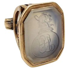 12kt Rose Gold and White Agate Intaglio Watch Fob Pendant