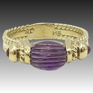 14K Gold Amethyst and Ruby Ring, circa 1980s