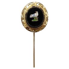 14kt Gold Micro Mosaic Stick Pin