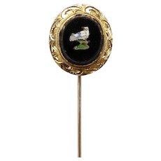 14kt Gold Micro Mosaic Stick Pin