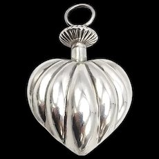 Vintage Mexican Sterling Silver Puffed Heart Perfume Bottle
