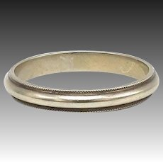 Vintage 14kt White Gold Wedding Band with Milgrain Beading