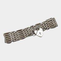 Vintage British Sterling Silver Gate Bracelet with Heart Lock Clasp