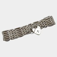 Vintage British Sterling Silver Gate Bracelet with Heart Lock Clasp