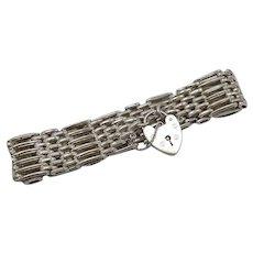 Vintage British Sterling Silver Gate Bracelet with Heart