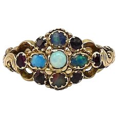 Georgian 15kt Gold Opal and Ruby Ring