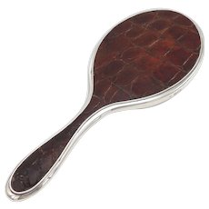 Edwardian Sterling Silver Alligator Skin Hand-held Mirror