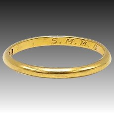 Stunning Early Victorian 22kt Gold Wedding Band, circa 1842