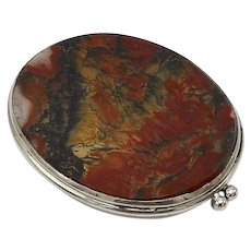 Sterling Silver and Scottish Agate Compact Mirror